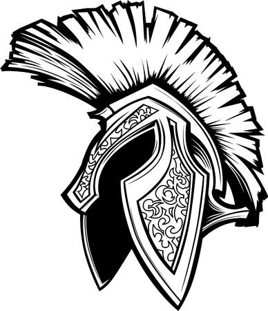 spartano: Vector Graphic di un greco o Trojan Spartan Helmet Vettoriali