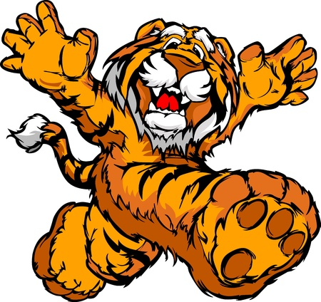 tigre caricatura: Tigre sonriente Correr con las manos Ilustraci�n Vector Mascota