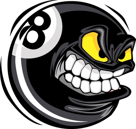 Cartoon Face on a Billiards or Pool Eight Ball Vector Illustration