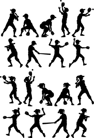 Baseball or Softball Players Silhouettes of Kids - Boys and Girls Vector