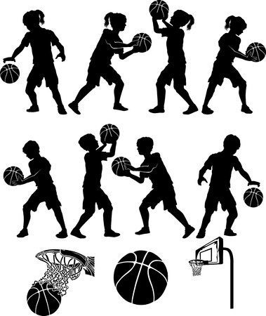 dribbling: Basketball Players Silhouettes of Kids - Boys and Girls Illustration