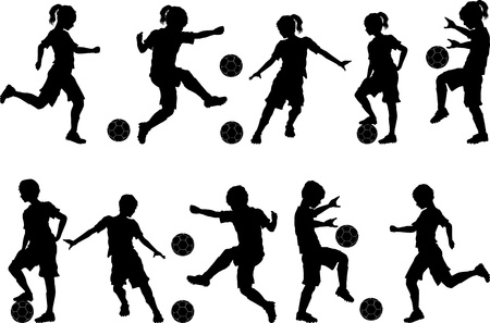 soccer kick: Soccer Players Silhouettes of Kids - Boys and Girls Illustration