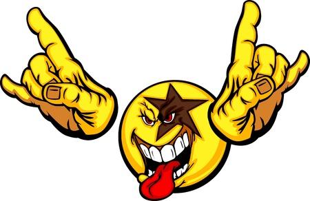Cartoon Rocking Emoticon cara amarilla con la lengua fuera y las manos en pose rocker