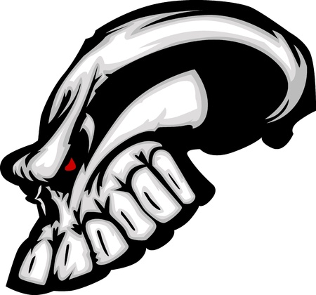 mean: Cartoon Vector Image of a Skull with Mean Expression