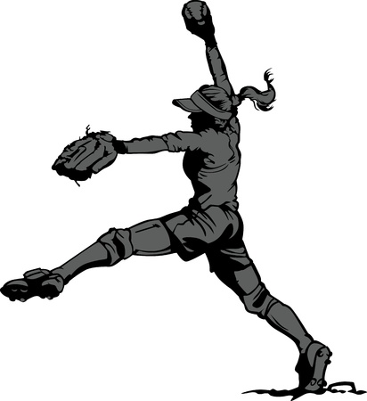pitcher: Vector Illustration Silhouette of a Fastpitch Softball Player Pitching