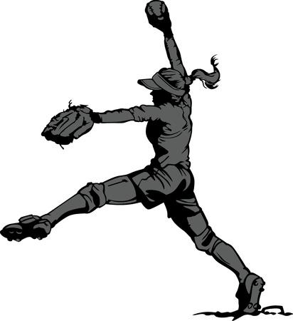 softbol: Vector silueta ilustración de un jugador de Softbol de Lanzamiento Rápido Pitching Vectores