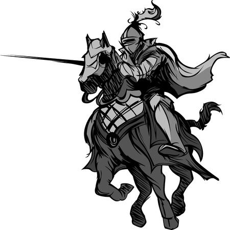 caballero medieval: Caballero con armadura montando a caballo y Justar Vectores