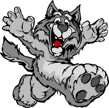 coyote: Smiling Coyote or Wolf Running with hands Mascot  Vector Illustration Illustration