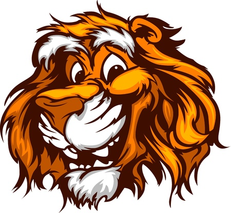 Tiger Head Smiling Mascot  Vector Illustration