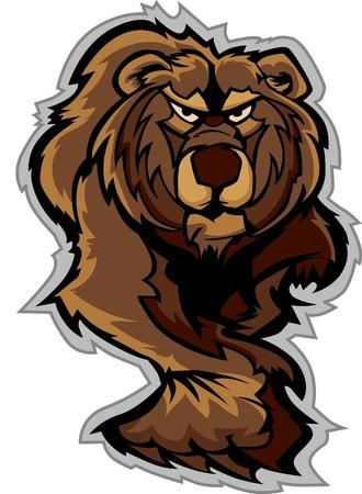 grizzly: Gardez Mascot R�dant avec des griffes et Vectoriel Paws