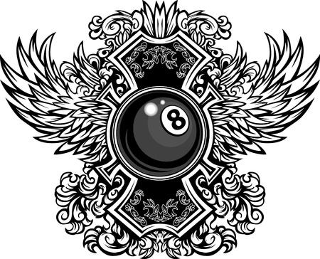 Biljart-of Pool Eight Ball met sierlijke Wing Borders Vector Graphic Vector Illustratie