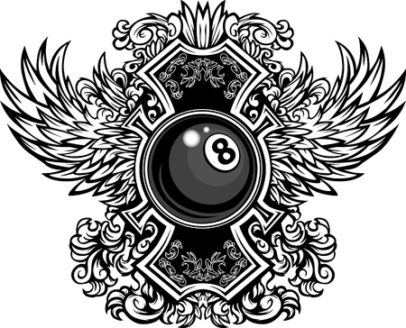 pool ball: Billiards or Pool Eight Ball with Ornate Wing Borders Vector Graphic