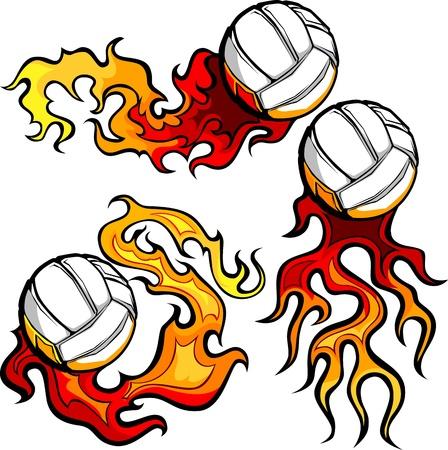 voleibol: Gr�fico de voleibol el deporte vector de imagen con las llamas