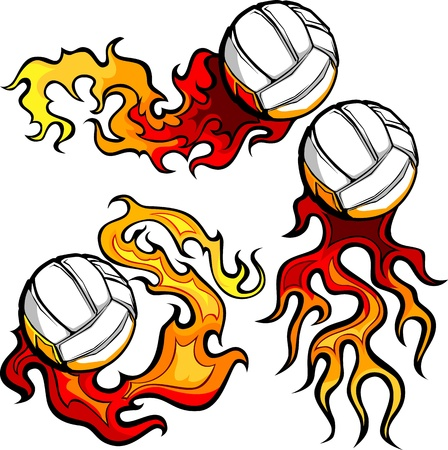 fire symbol: Graphic volleyball sport vector image with flames