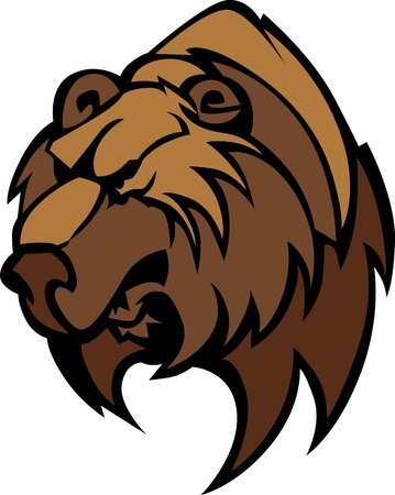bruins: Cartoon Vector Mascot Image of a Black Bear Head Illustration