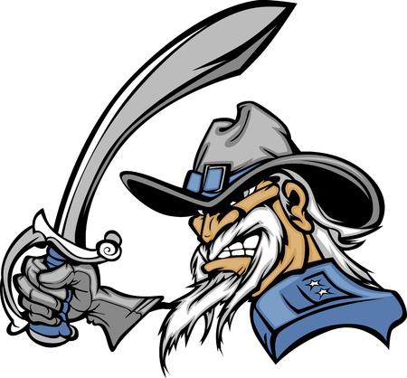 一般的なまたは市民戦争の兵士漫画ベクトル マスコット剣を保持  イラスト・ベクター素材