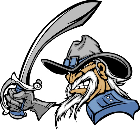 Soldado General o de la Guerra Civil de dibujos animados Vector mascota con una espada