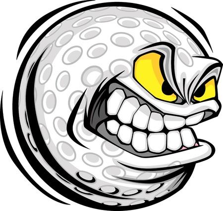 Vector Cartoon Golf Ball with Mean Face Stock Illustratie