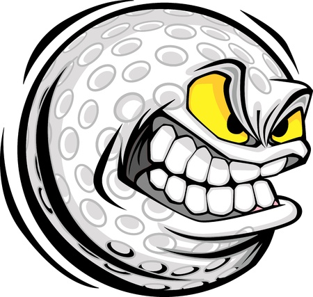 mean: Vector Cartoon Golf Ball with Mean Face Illustration