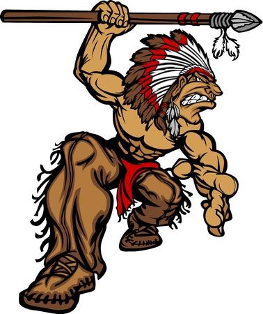 indian chief headdress: Cartoon grafica di un nativo americano Mascot Indian Chief tiene una lancia