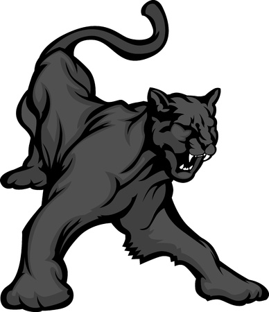 Graphic Mascot Vector Image of a Black Panther Growling