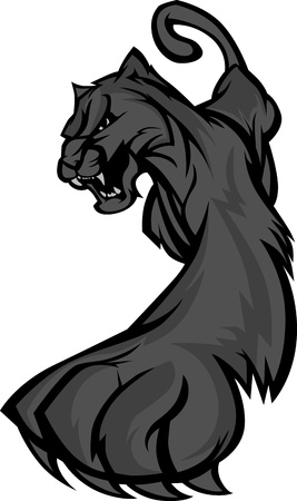 puma cat: Graphic Mascot Vector Image of a Prowling Black Panther Body