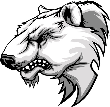 Cartoon Vector Mascot Image of a Polar Bear Head