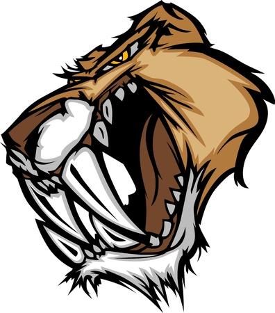 sabel: Grafische Vector Mascot Afbeelding van een Saber Cat Cougar hoofd
