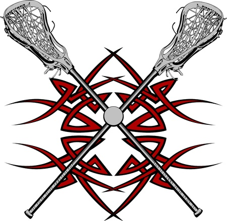 Lacrosse Sticks and Ball with Tribal Borders Vector Graphic Ilustrace