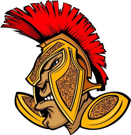 spartano: Cartoon Trojan o Mascot Vector Spartan con copricapo Vettoriali