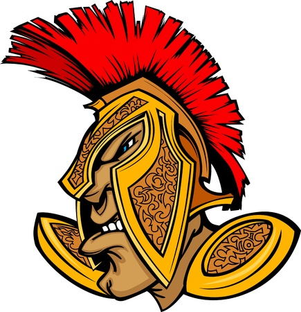 spear: Cartoon Trojan or Spartan Vector Mascot with Headdress
