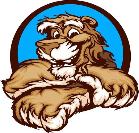 Cougar met Paws Lachende Mascot Vector Illustratie