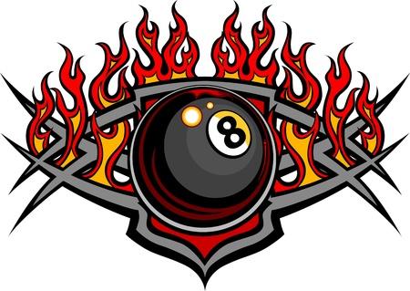 Flaming Billard Eight combustion Modèle Boule Vecteur avec des flammes d'incendie