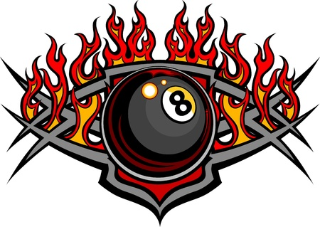 pool balls: Flaming Billiards Eight Ball Vector Template burning with Fire Flames