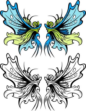 wings icon: Le immagini di grafica vettoriale di ali di farfalla o Fata