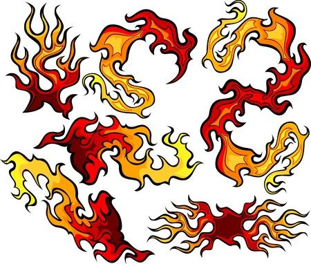 imagenes vectoriales: Im�genes vectoriales de los remolinos de las im�genes de fuego y llamas