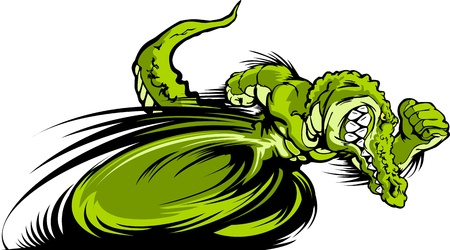 Speeding Aligator or Crocodile Running with hands Mascot  Vector Illustration Vector