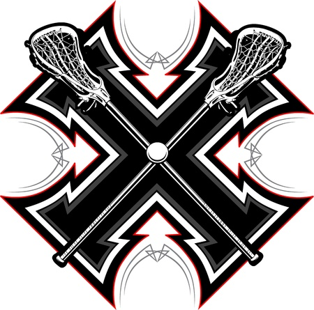 Lacrosse Sticks and Ball with Tribal Borders Vector Graphic Vector