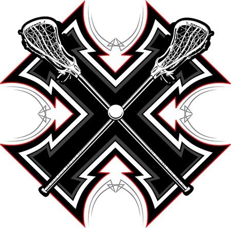 Lacrosse Sticks und Ball mit Tribal Borders Vector Graphic Standard-Bild - 12805232