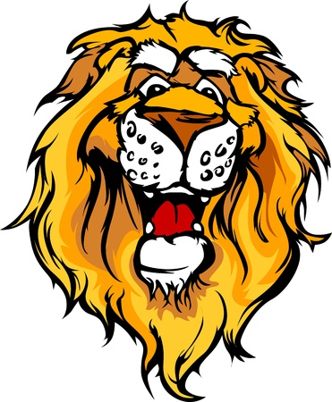 Lion Mascot with Cute Face Cartoon Vector Image Vettoriali