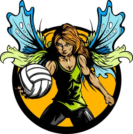 Volleyball Sport Fairy Girl with Wings and Ball Vector Illustration