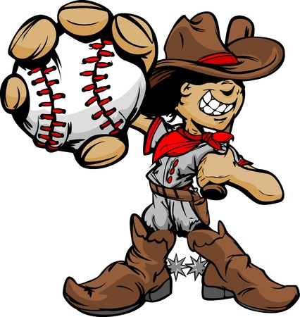 baseball cartoon: Baseball Cartoon Boy Cowboy Holding Bat Illustration