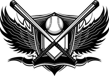 softball: Baseball Bats, Baseball, and Home Plate with Ornate Wing Borders Graphic Illustration
