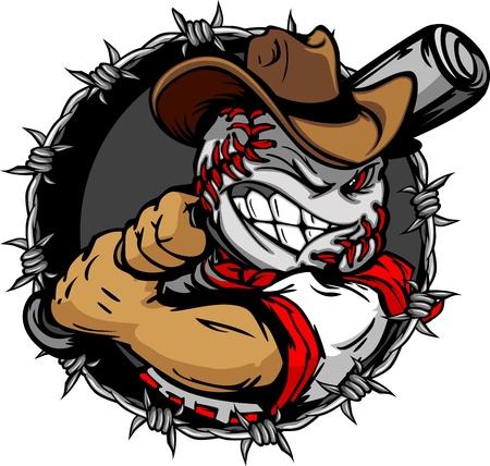beisbol: Cara de Béisbol Cowboy de dibujos animados Ilustración