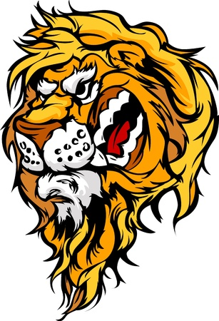 Cartoon Mascot Image of a Lion Head Vector