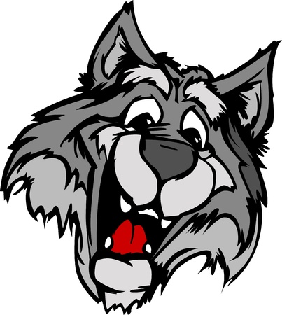 highschool: Wolf Mascot with Cute Face Cartoon Image Illustration