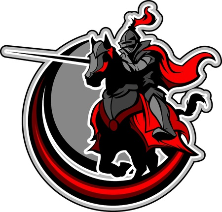 Ritter mit Rüstung auf einem Pferd und Fechten Standard-Bild - 12982402