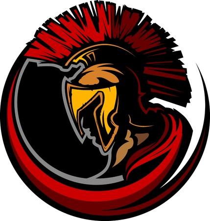 Grafische Trojaans paard of Spartan Mascot met hoofdtooi Stock Illustratie