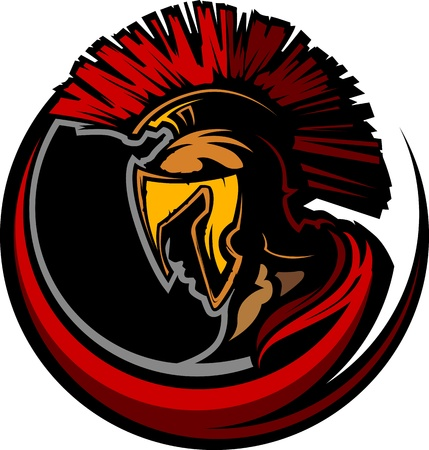 warrior: Graphic Trojan or Spartan Mascot with Headdress Illustration