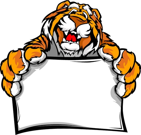bengal: Tiger Head Smiling Mascot  Holding sign Illustration Illustration